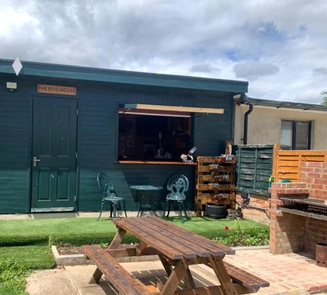 Steve Sweet's lockdown DIY pub, The Doghouse, in Uxbridge, West London