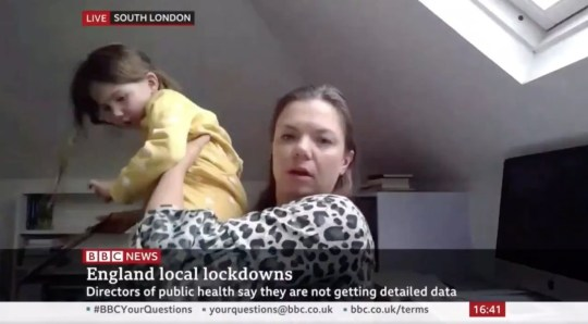 BBC News interview crashed by child demanding to know who anchor is (Picture: BBC)