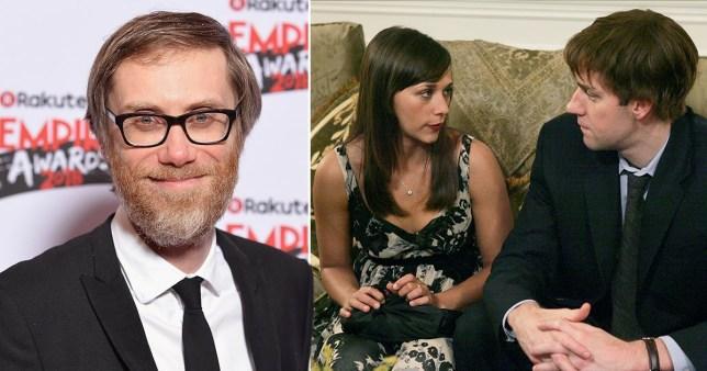 Stephen Merchant, and Jon Krasinski and Rashida Jones in The US Office.
