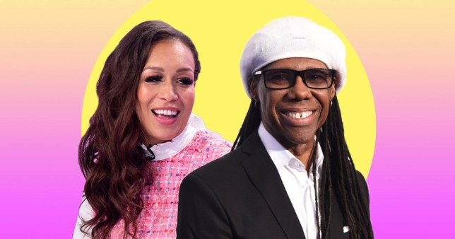 Rebecca Ferguson pictured separately alongside Nile Rodgers