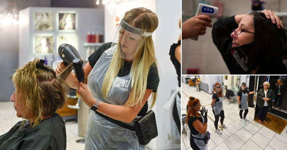 Hairdressers at Boyd Hair and Beauty in Carlisle Cumbria and Tusk Hair stylists in Camden, north-west London, reopened their doors at midnight on July 4 for the first time since lockdown as the Government eases its emergency coronavirus measures. Staff wore face shields for protection against Covid19 with through cleaning of scissors, combs and other equipment used