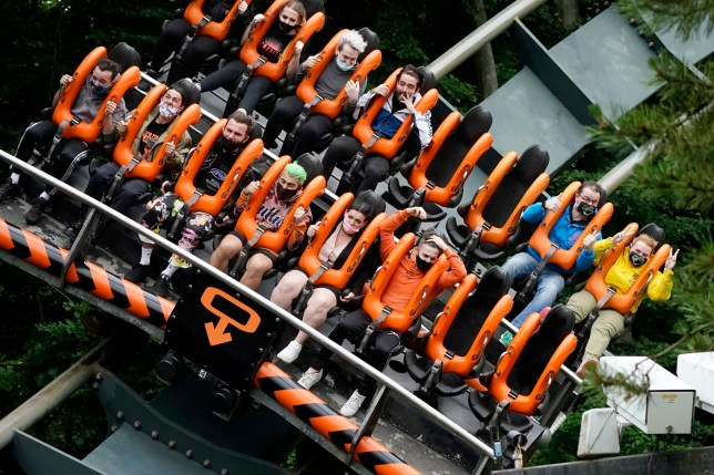 Alton Towers reopening with customers on a ride