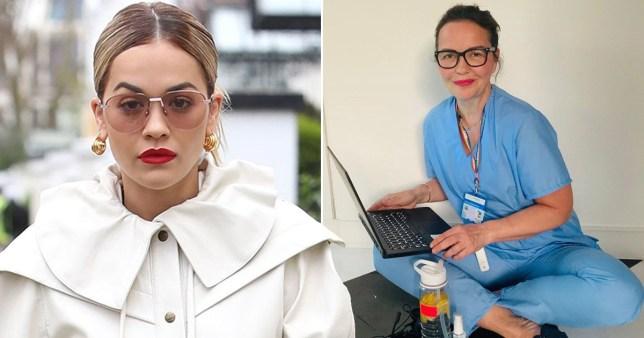 Rita Ora pictured separately alongside photo of her mum Vera in her NHS medical scrubs
