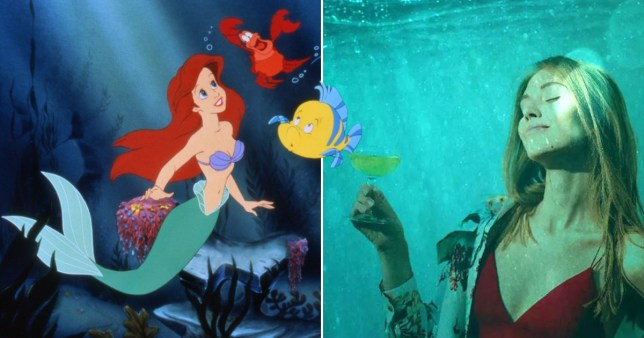 Split mage of a scene from The Little Mermaid and a woman holding a cocktail while 'underwater'.