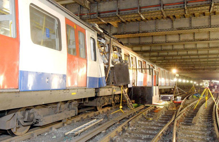 London Underground carriage in the aftermath of the 7/7 bombings.
