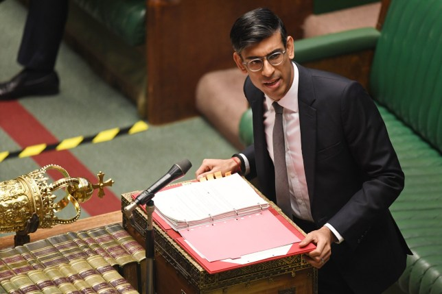 Chancellor of the Exchequer Rishi Sunak answering a question in the House of Commons today