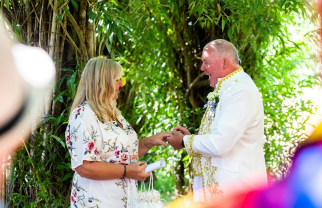 Sharon Fawcett and her now husband David Hallam during their wedding ceremony at the Willow Cathedral in Taunton