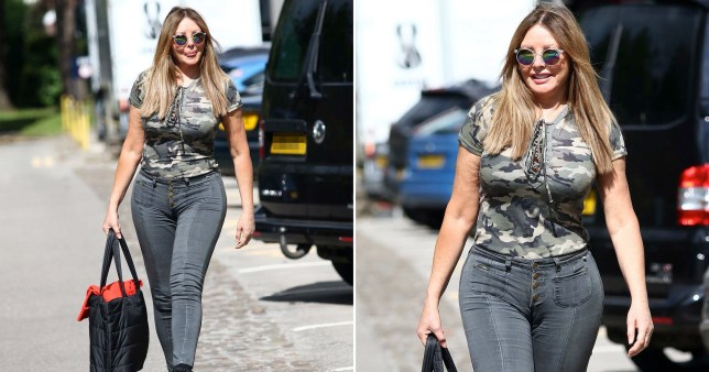 Carol Vorderman wearing skinny jeans while out at BBC Studios Wales