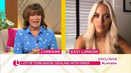 Mandatory Credit: Photo by ITV/REX (10709806v) Lorraine Kelly, Lottie Tomlinson 'Good Morning Britain' TV Show, London, UK - 13 Jul 2020