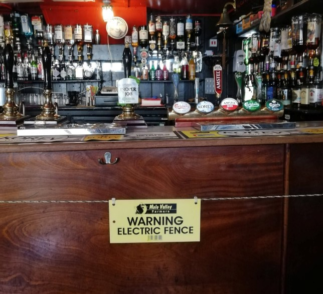 An electric fence at the bar