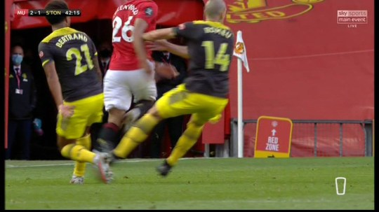 Mason Greenwood damaged his left ankle following a challenge from Oriol Romeu