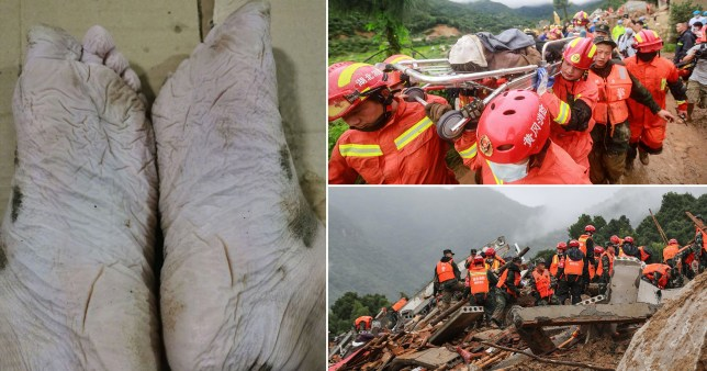 Firefighter's feet after more than 30 hours of searching for landslide survivors in Hubei province, China, on Wednesday, July 8