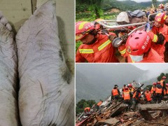 Firefighter's wrinkly feet after 30 hours searching for landslide survivors
