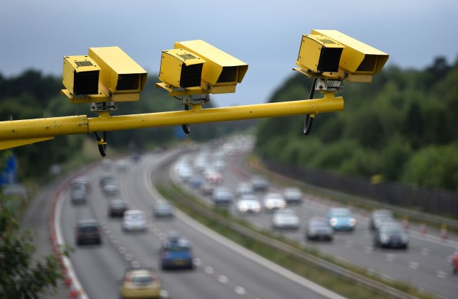Speed cameras in position on the M3 motorway in Hampshire