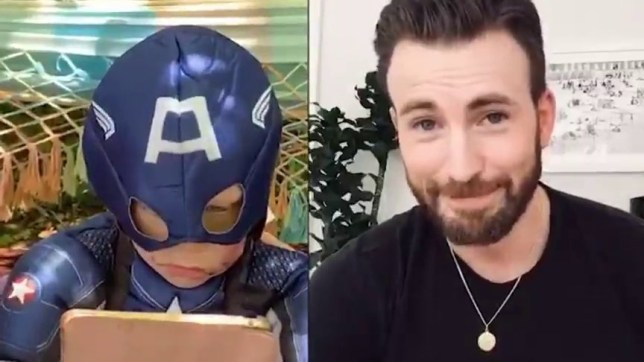 Chris Evans pictured in personalised video to six-year-old boy dressed as Captain America