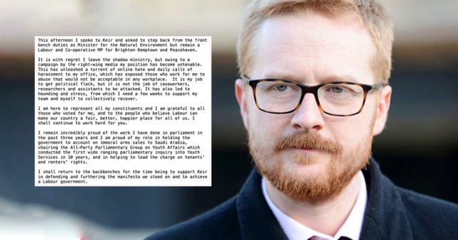 Lloyd Russell-Moyle MP asks to step back from the front bench duties as Minister for Air Quality and the Natural Environment
