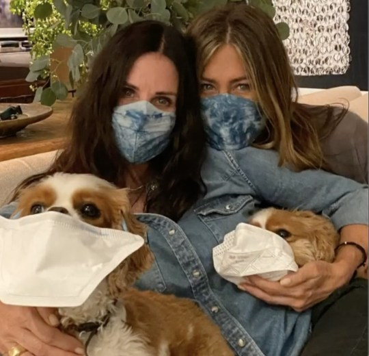 Courtney Cox and Jennifer Aniston pose in matching masks and pooches
