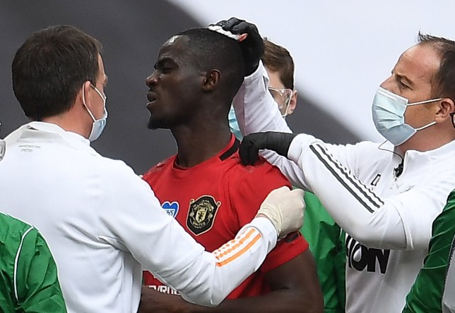 Eric Bailly suffered a head injury as Manchester United were beaten by Chelsea