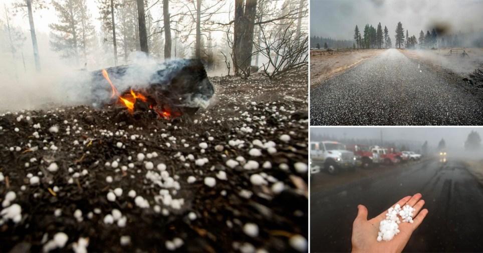 Feu de forêt en Californie éteint par la tempête de grêle Photos: Getty
