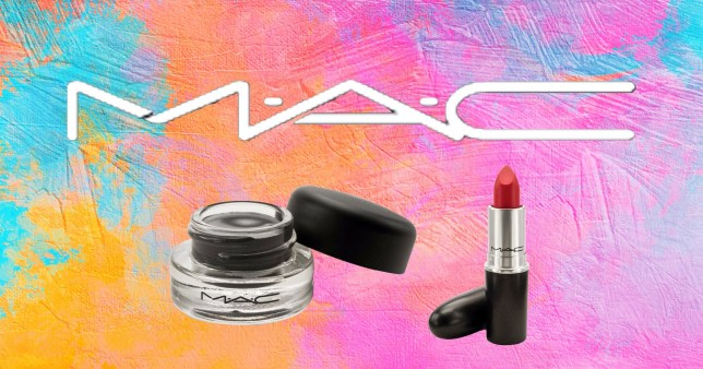 MAC products on a colouful background