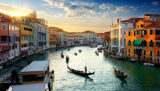 Grand Canal à Venise au coucher du soleil, Italie