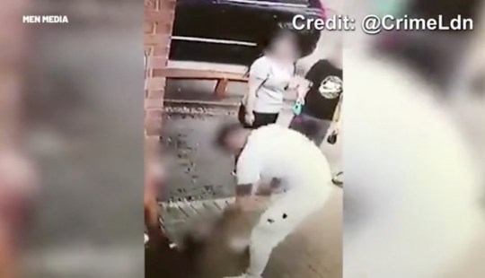 Footage posted to social media shows thug punching dog in the face three times
