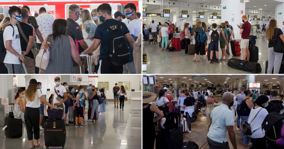 Long queues at Spanish airports as Brits come home amid new quarantine rules