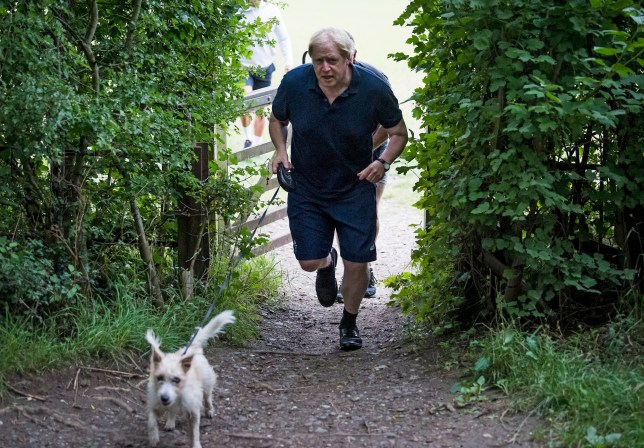 Boris Johnson is seen jogging on a public footpath with his dog Dilyn near Chequers, his grace and favour country residence.