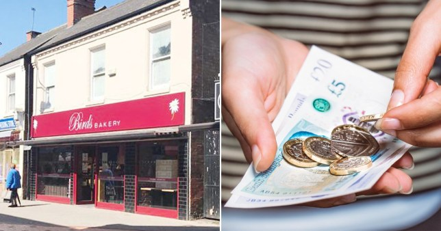A view of Birds Bakery in Arnold, Nottinghamshire (left) and a hand holding cash and coins - which the bakery chain is refusing to accept due to the coronavirus pandemic