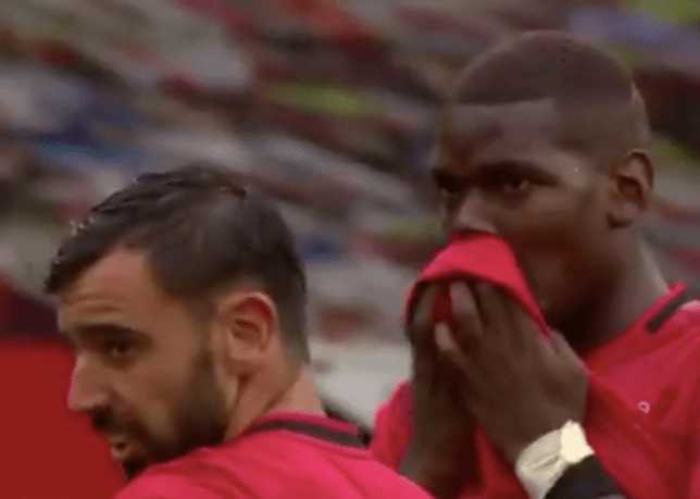 Bruno Fernandes chats with Paul Pogba before his goal in Manchester United's win over Bournemouth in the Premier League
