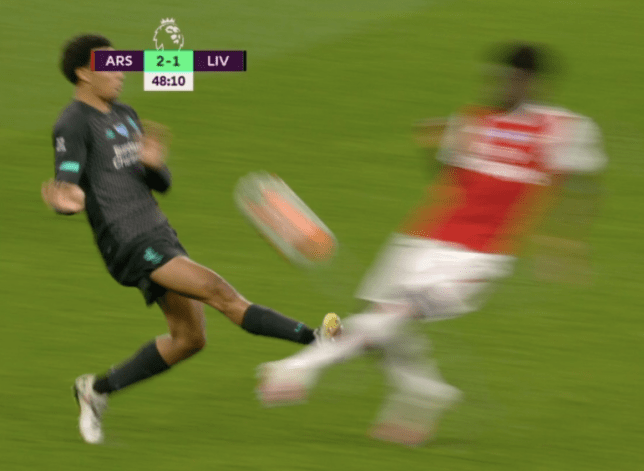 Liverpool star Trent Alexander-Arnold was shown a yellow card for his challenge on Arsenal's Bukayo Saka in the Premier League clash