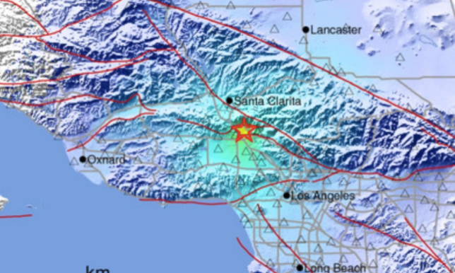 Graphic showing epicenter of Thursday's earthquake in Pacoima, California