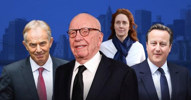 Rupert Murdoch with Tony Blair, Rebekah Brooks and David Cameron