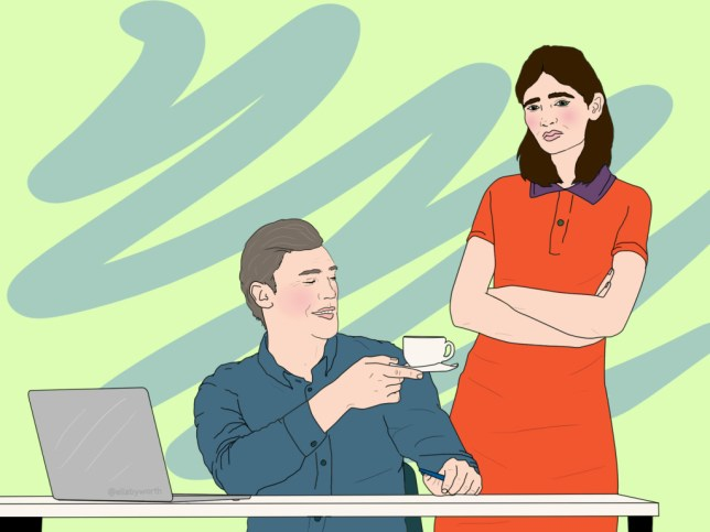 Illustration of man giving cup to woman at work