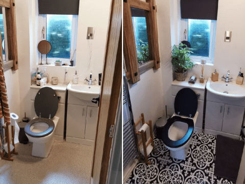 Woman gives bathroom simple Scandi makeover for just £80