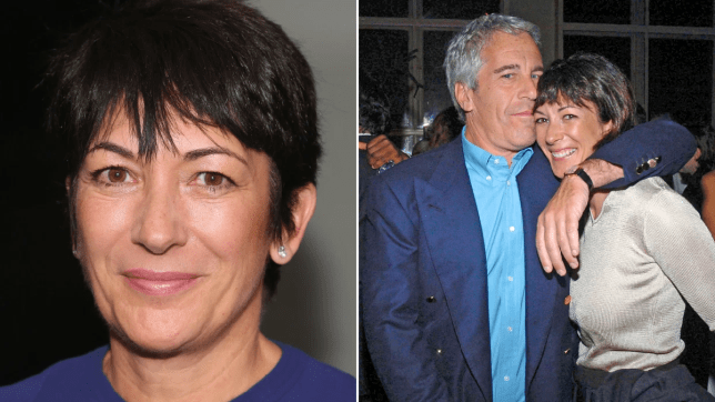 Photo of Ghislaine Maxwell next to photo of Maxwell and Jeffrey Epstein