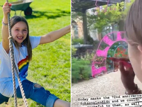 Victoria Beckham shares cute clip of daughter Harper drawing a rainbow to honour NHS' 72nd anniversary