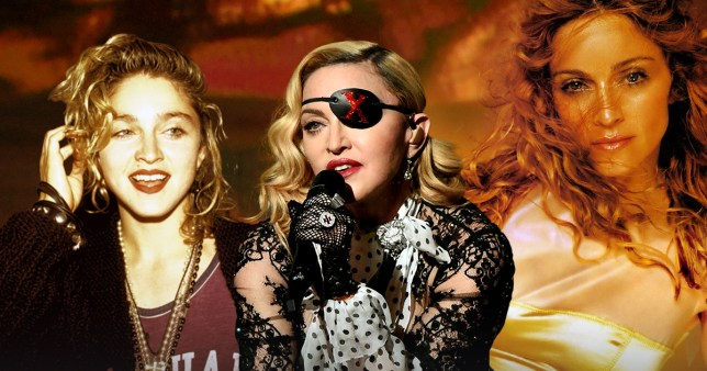 Three different images of Madonna at different ages in one pic