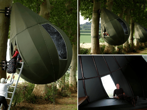 You can go camping in these incredible teardrop-shaped hanging tents