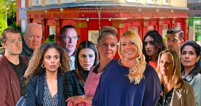 Sharon, Linda, Dotty, Chantelle, Vinny, Habiba, Suki, Ben, Ian, Kathy and Phil in EastEnders
