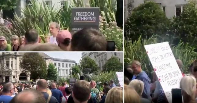 Anti mask protestors gather in Birmingham
