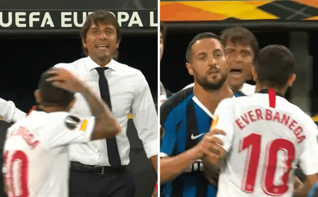 Inter Milan boss Antonio Conte reacts to shocking row with Sevilla star Ever Banega over 'wig' insult