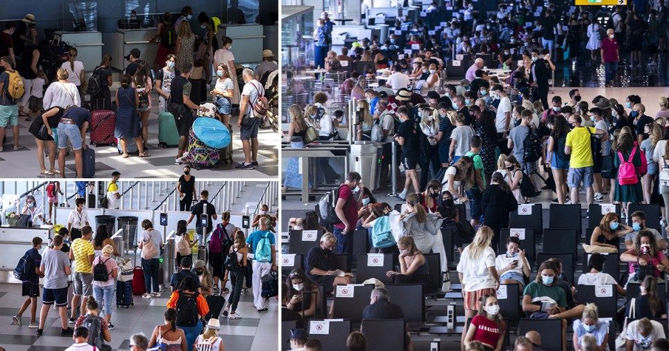Travellers pack into Split International Airport in Croatia with less than 24 hours to go before the country is added to the UK's 'red list' requiring 14 days of quarantine