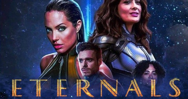 Marvel eternals poster with Angelina Jolie