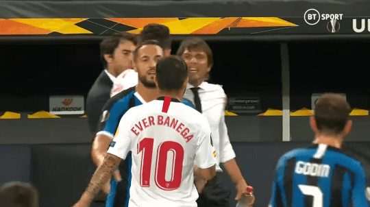 Antonio Conte reacts to shocking row with Sevilla star Ever Banega over 'wig' insult