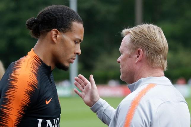 Virgil van Dijk and new Barcelona boss Ronald Koeman talk in Netherlands training
