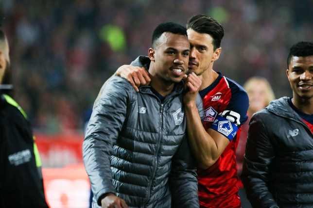 Arsenal transfer target Gabriel Magalhaes speaks with Jose Fonte after Lille match