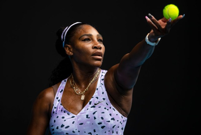 Serena Williams of the United States serves in her third round match against Qiang Wang of China on day five of the 2020 Australian Open at Melbourne Park on January 24, 2020 in Melbourne, Australia.
