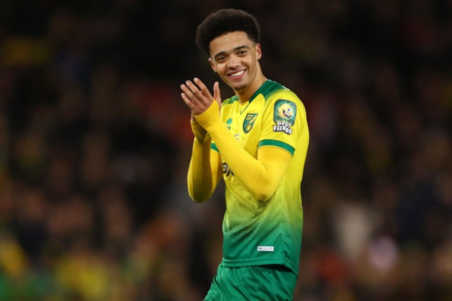 Jamal Lewis of Norwich City applauds during the Premier