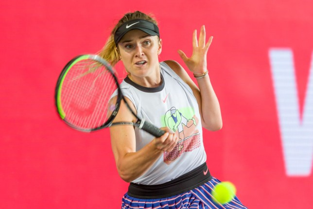 Elina Svitolina of Ukraine controls the ball during a match against Andrea Petkovic of Germany at day 6 of the tennis tournament bett1ACES at Hangar 6 of the former aiport Tempelhof on July 19, 2020 in Berlin, Germany.